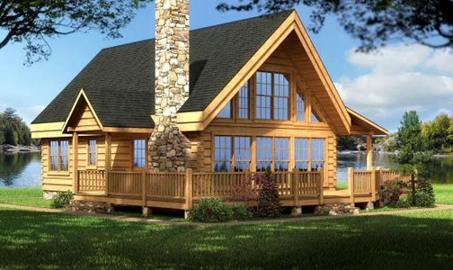 Log home plans cabin designs from smoky mountain for Square log cabin plans